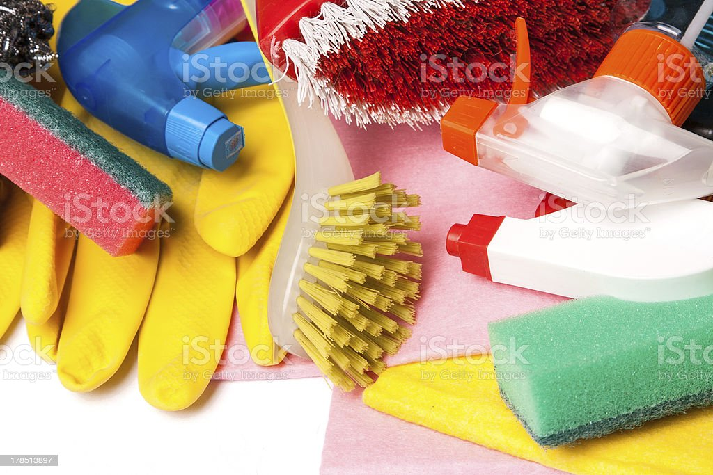 Assortment of means for cleaning and washing royalty-free stock photo