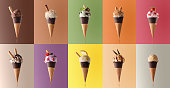 istock Assortment of natural fruit ice cream in a pattern 689004346