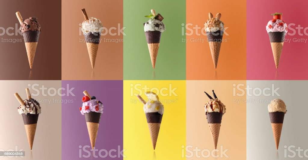 Assortment of natural fruit ice cream in a pattern stock photo