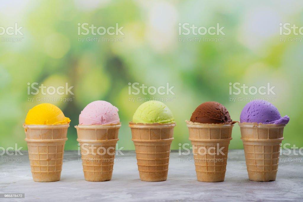 Assortment of natural ice cream - strawberry, chocolate, orange, blueberry and mint zbiór zdjęć royalty-free
