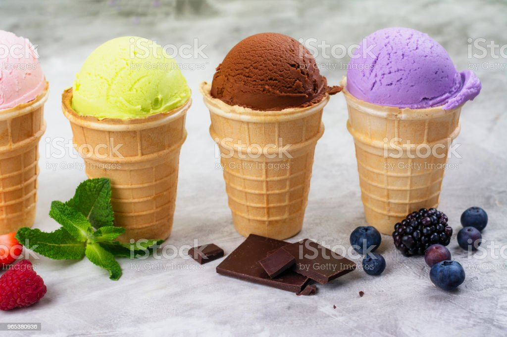 Assortment of natural ice cream - strawberry, chocolate, orange, blueberry and mint zbiór zdjęć royalty-free