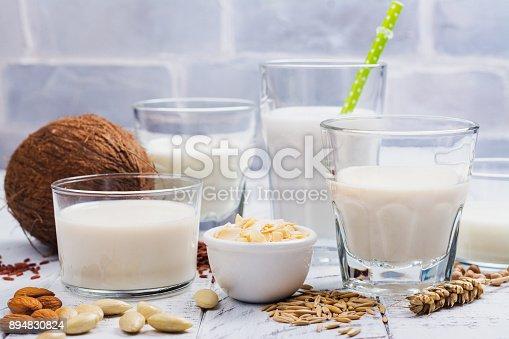 istock Assortment of non dairy vegan milk and ingredients 894830824