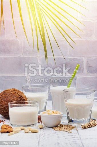 istock Assortment of non dairy vegan milk and ingredients 894830926