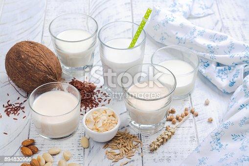 istock Assortment of non dairy vegan milk and ingredients 894830966