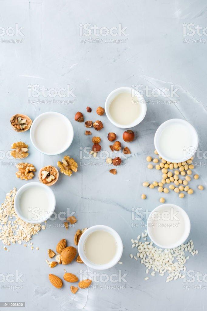 Assortment of organic vegan non diary milk stock photo