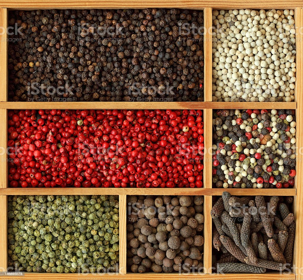Assortment of peppercorn royalty-free stock photo