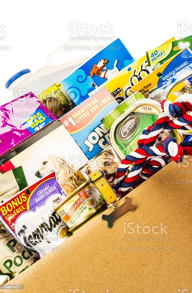 Assortment of Pet Food and Products royalty-free stock photo