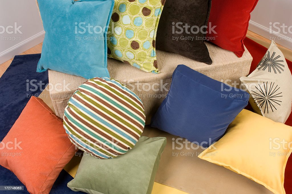 Assortment of pillows of different colors, shapes, textures royalty-free stock photo