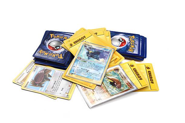 Assortment of Pokemon trading cards stock photo