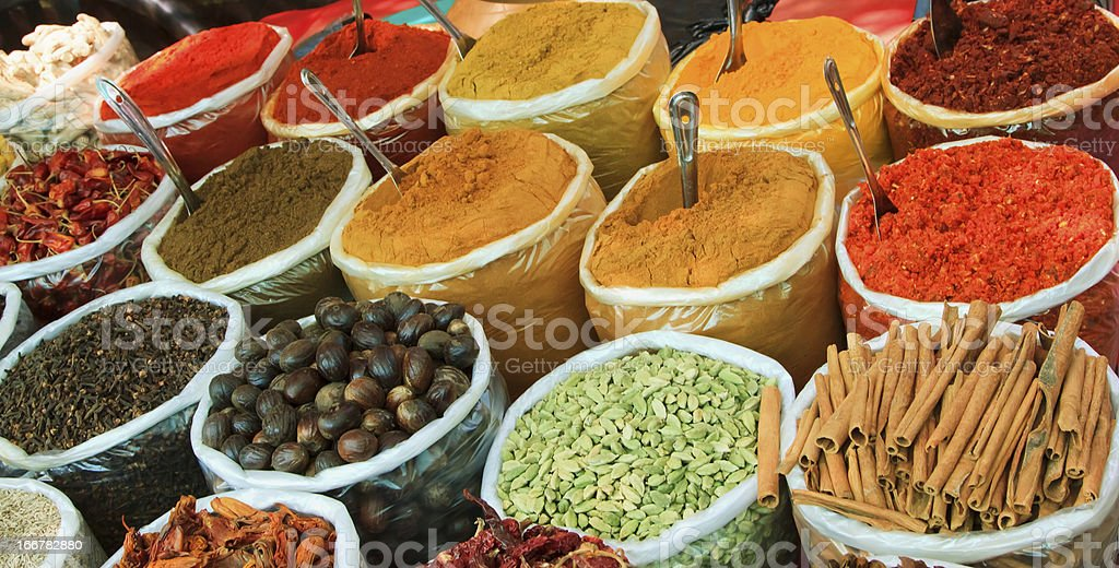 Assortment of powder spices stock photo