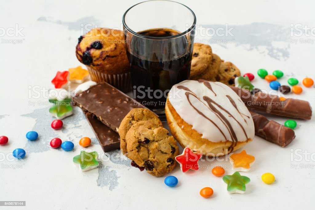 Assortment of products with high sugar level royalty-free stock photo