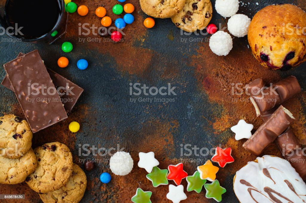 Assortment of products with high sugar level stock photo