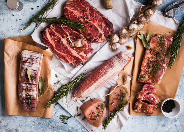 Assortment of raw pork and beef meat stock photo