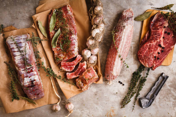 Assortment of raw pork meat stock photo