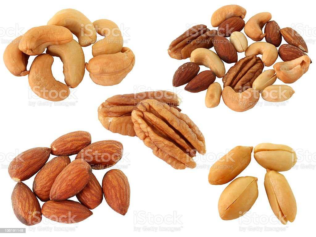 Assortment of Roasted Nuts:Cachew,peanut,almond isolated on white royalty-free stock photo