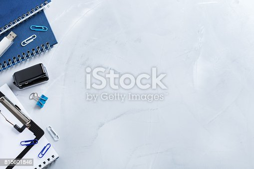 istock Assortment of school business supplies, crayons, pens 815601846