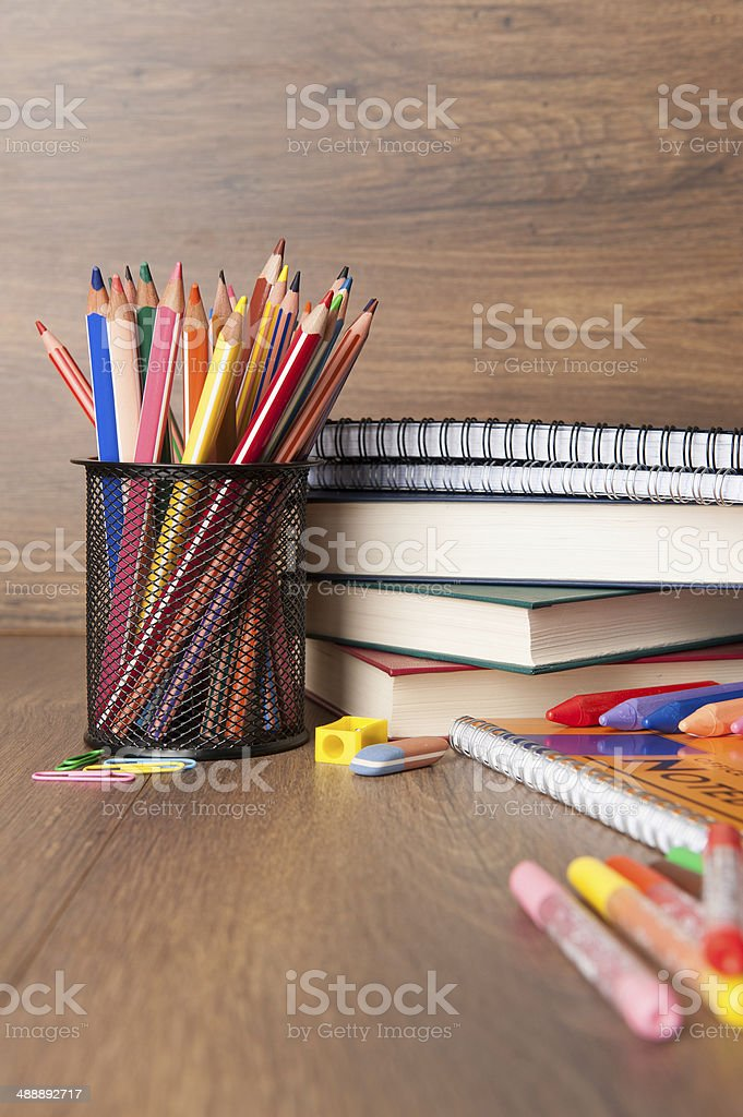 assortment of school supplies stock photo