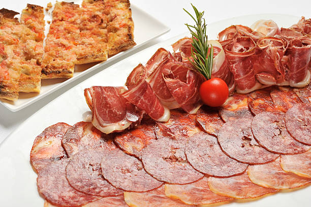assortment of sliced cold meats stock photo