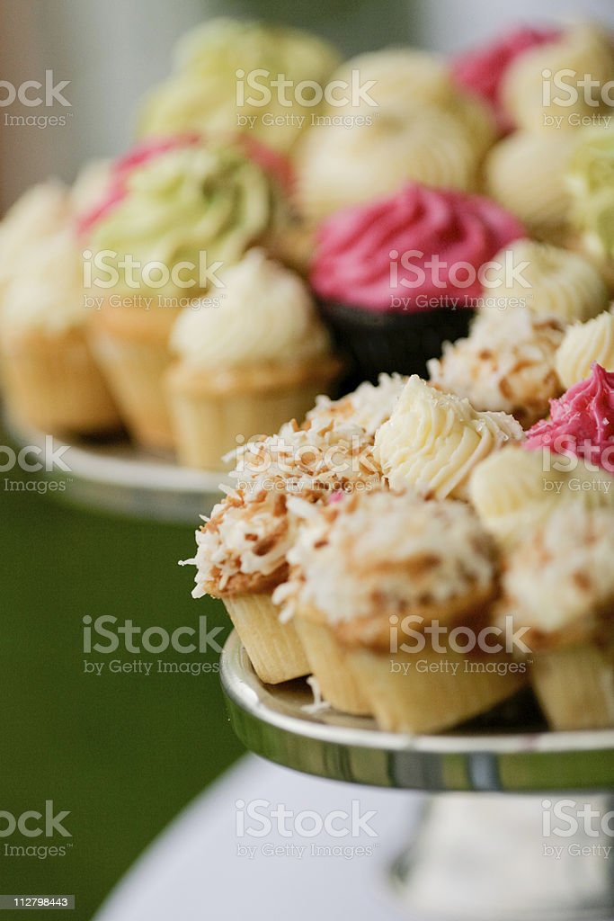 Assortment of small colorfull cupcakes at reception royalty-free stock photo