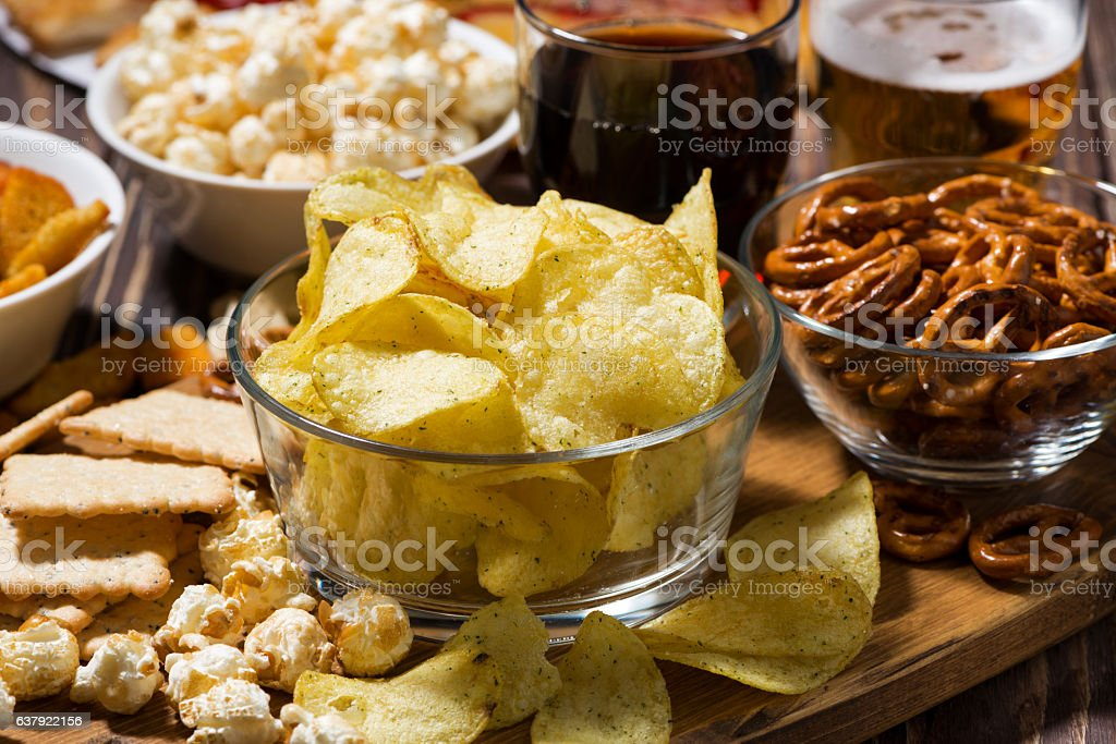 assortment of snacks for beer, fast food, closeup stock photo