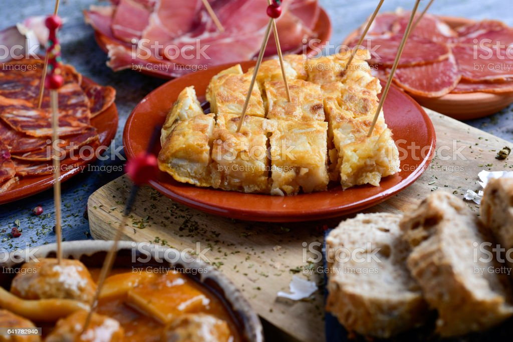 assortment of spanish cold meats and tapas stock photo