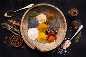 vintage wooden plate full of colorful spices and ingredients