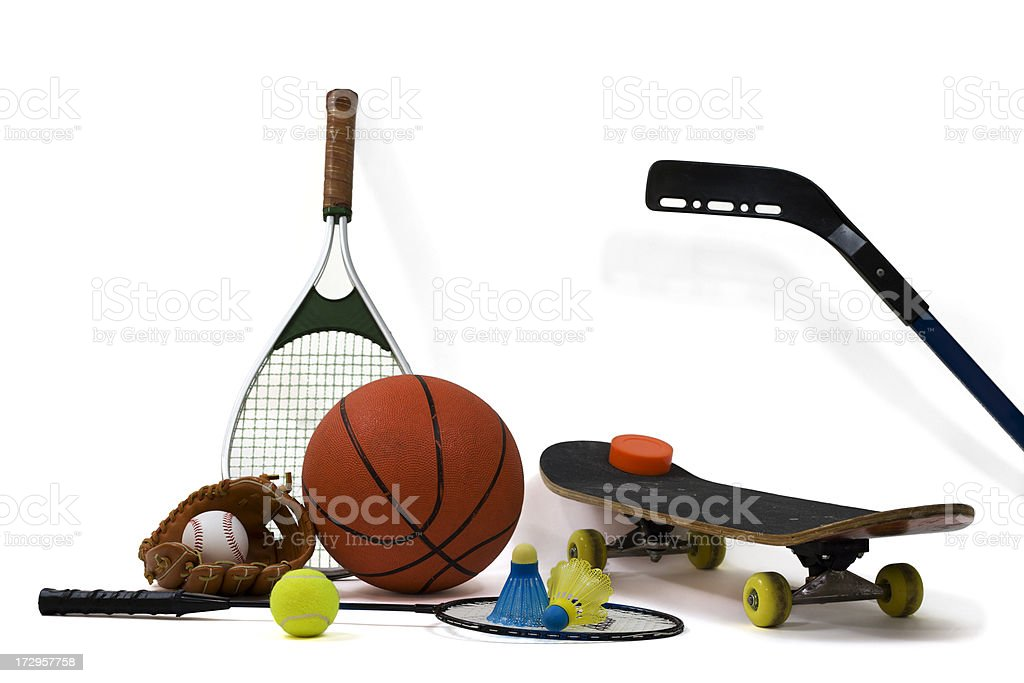 Assortment of  Sports Equipment stock photo