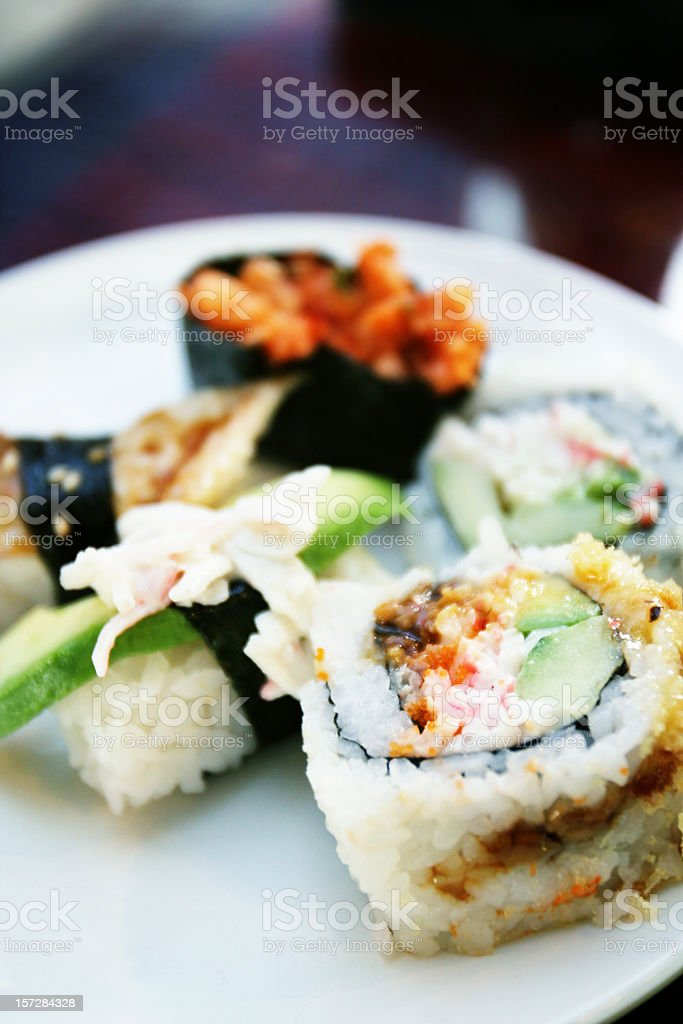 Assortment of Sushi on a Plate royalty-free stock photo
