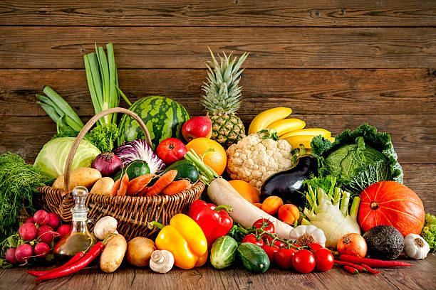 Assortment of the fresh fruits and vegetables stock photo