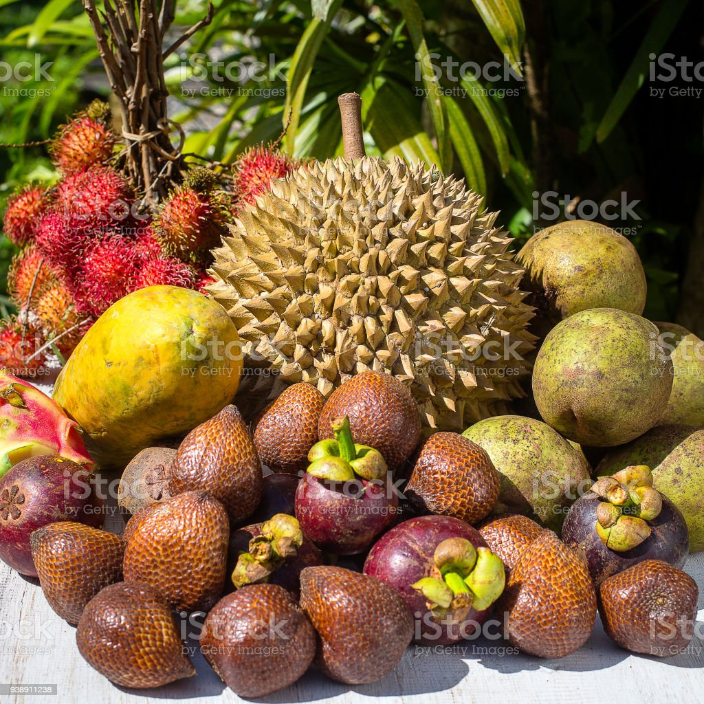 Assortment Of Tropical Fruits In Island Bali Indonesia Stock Photo