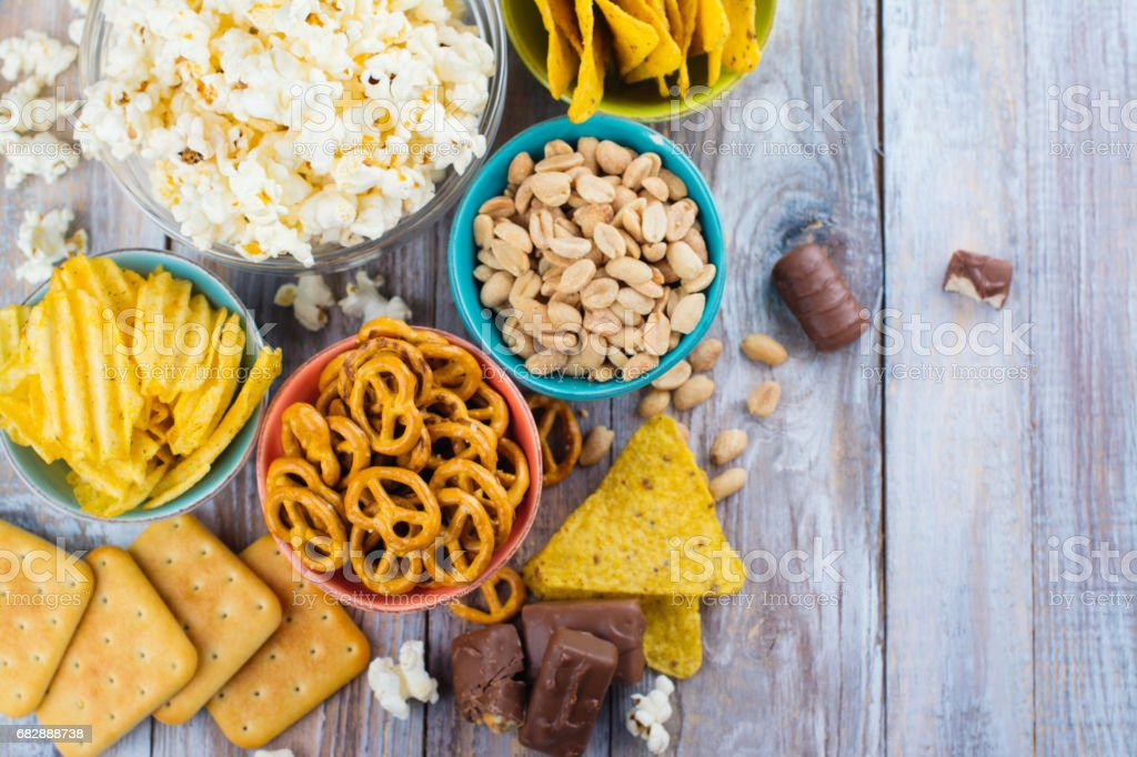 Assortment of unhealthy snacks stock photo