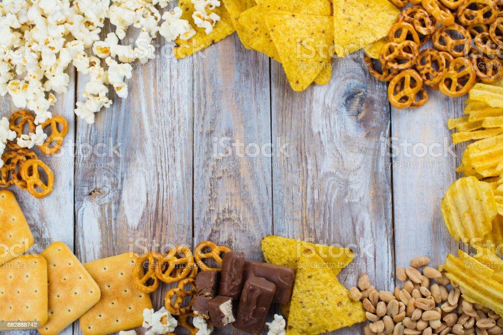 Assortment of unhealthy snacks Lizenzfreies stock-foto