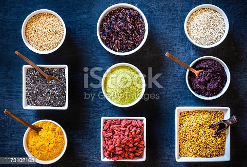 istock Assortment of various types of superfoods 1173102168