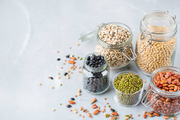 Assortment of vegan protein source food, legumes, lentils, chickpeas, beans stock photo