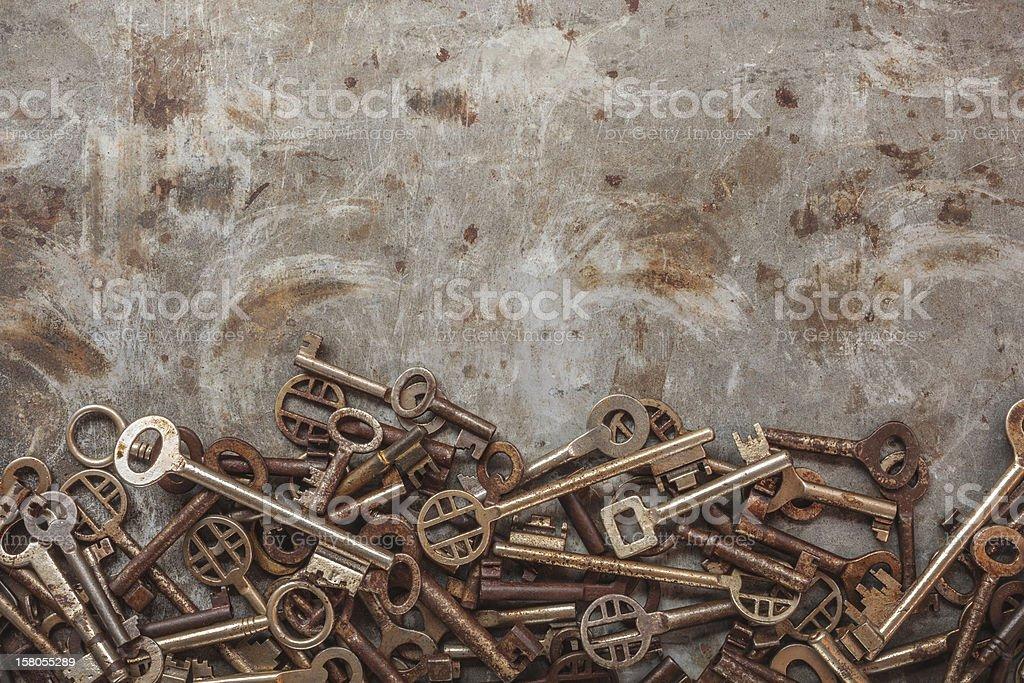 Assortment of vintage keys royalty-free stock photo