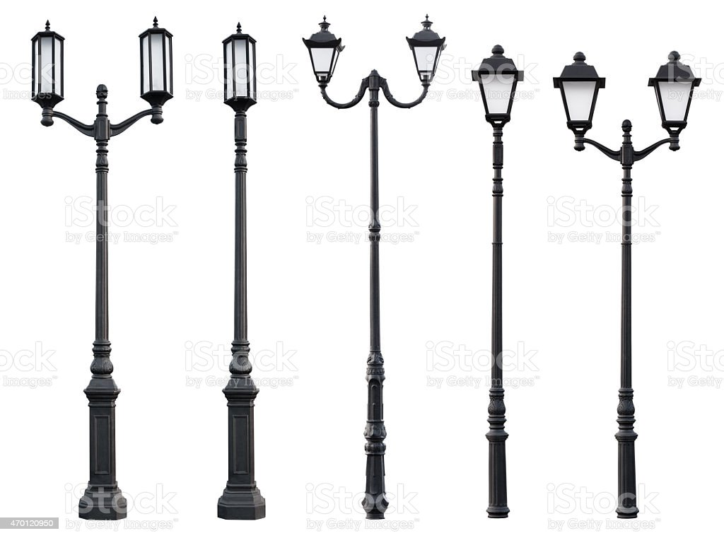 Assortment of vintage street lamp posts stock photo