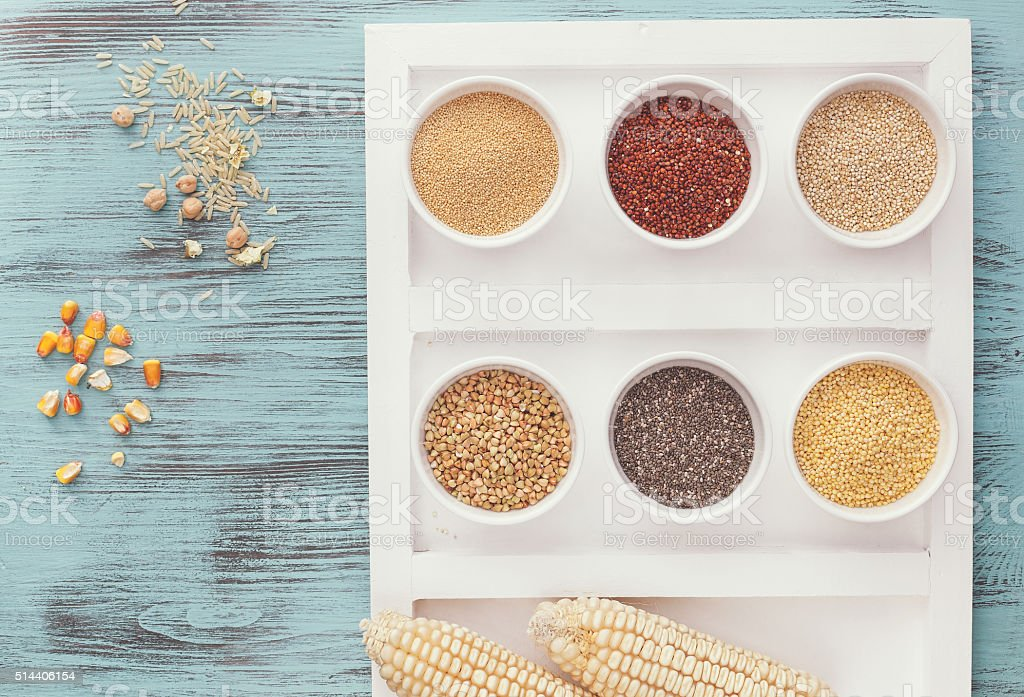 Assortment of whole grains stock photo