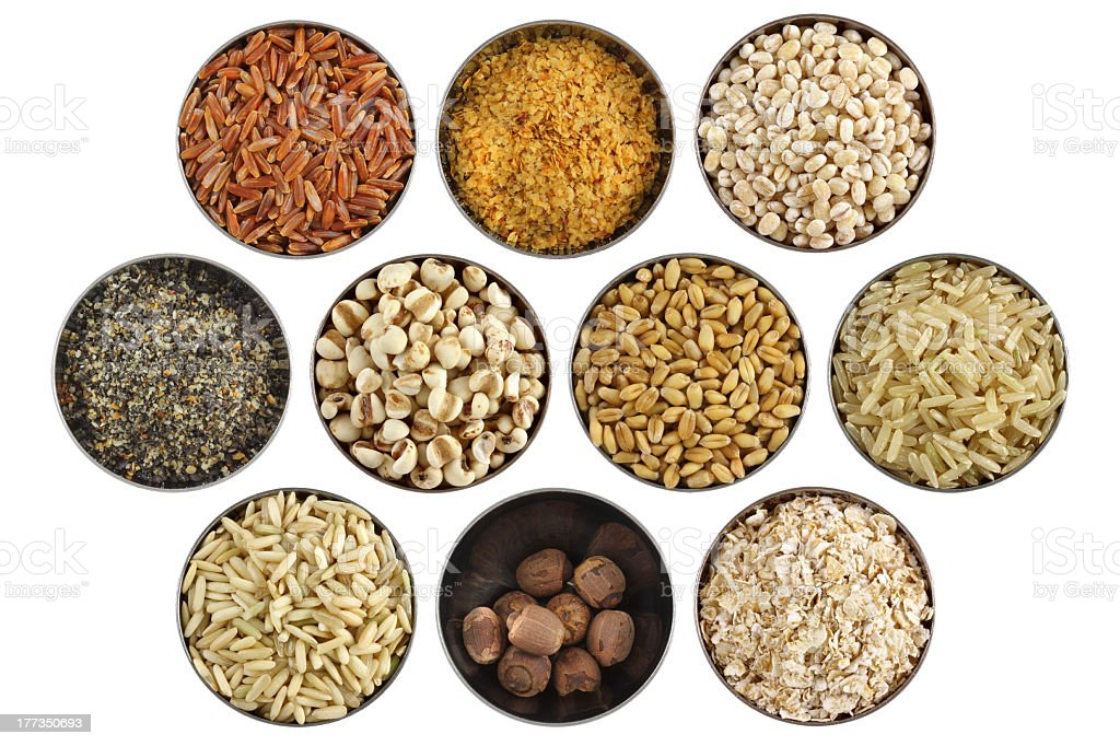 Assortment of wholesome ingredient in a stainless bowl royalty-free stock photo