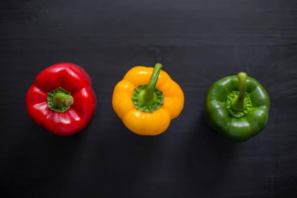 Assortment overhead arrangement of bell peppers stock photo