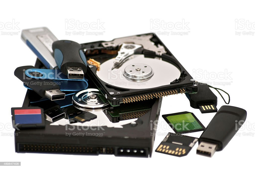 assortred digital storage devices stock photo
