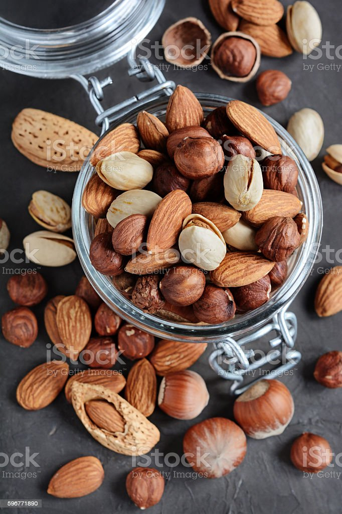 Assorty of nuts stock photo