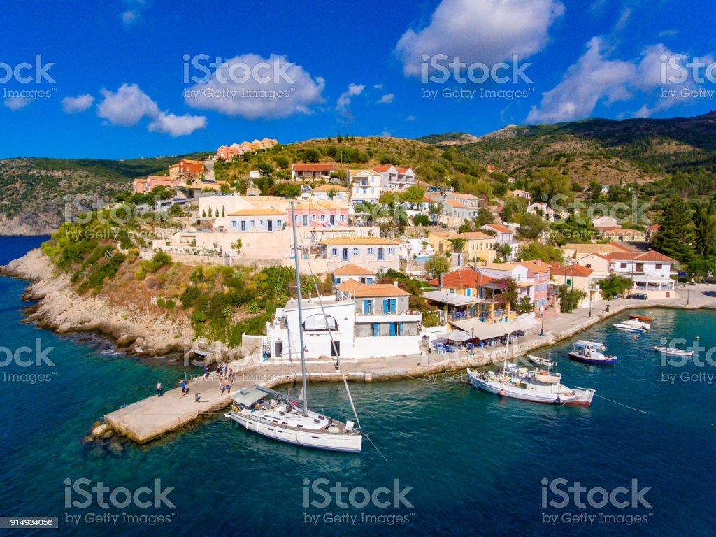 Assos Cephalonia Kephalonia fishing village  the most beautifull village on the island stock photo