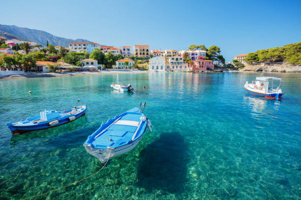 Assos on the Island of Kefalonia in Greece stock photo
