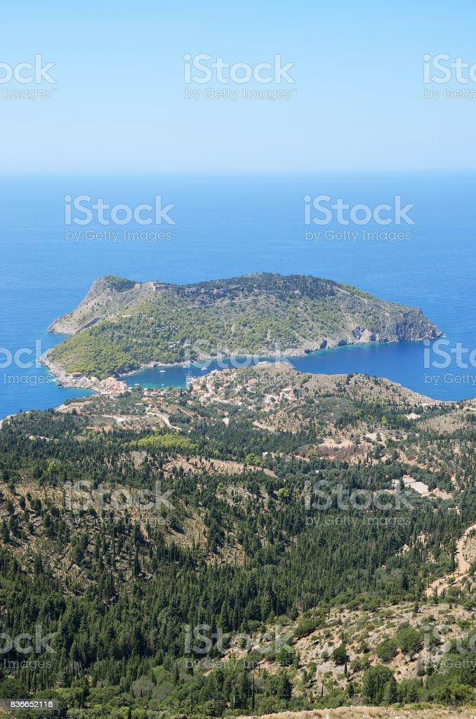 Assos peninsula in Kefalonia stock photo
