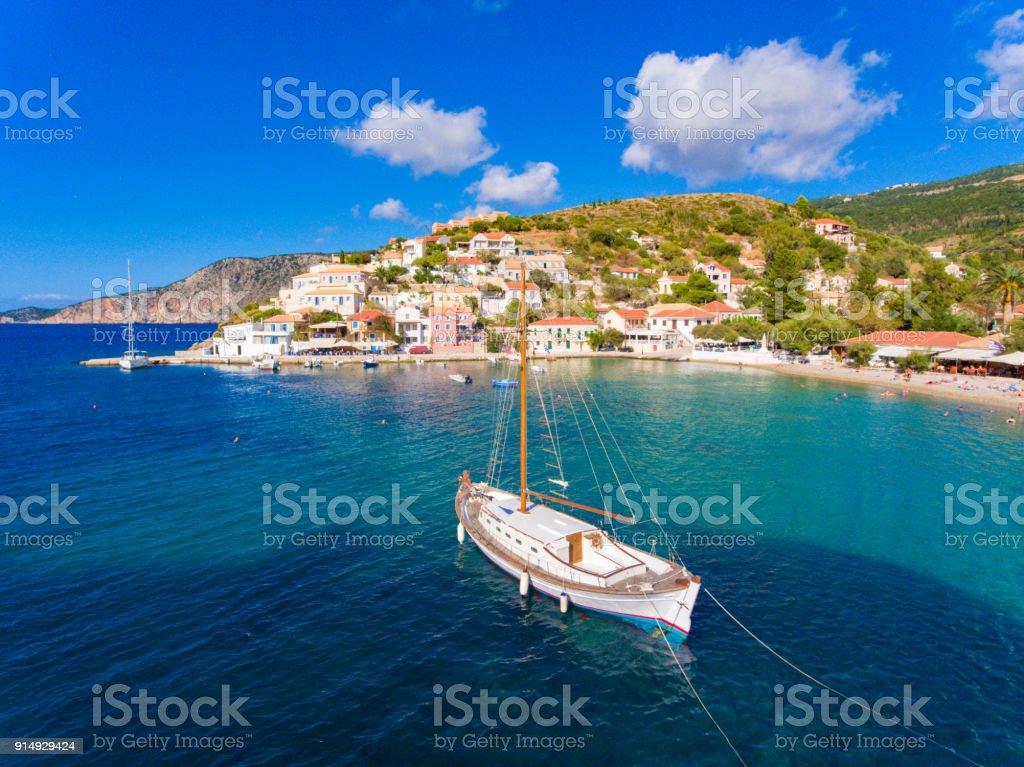 Assos village and port in Cephalonia (Kefalonia) Greece stock photo