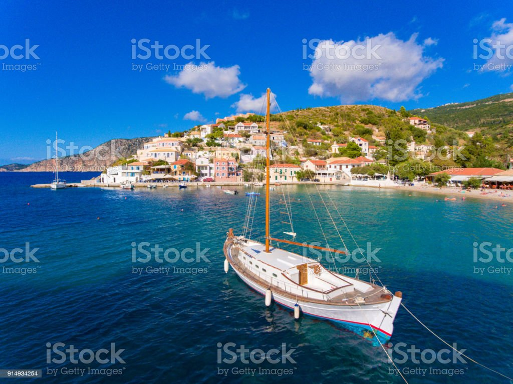 Assos village and port in Cephalonia (Kefalonia) Greece stock photo