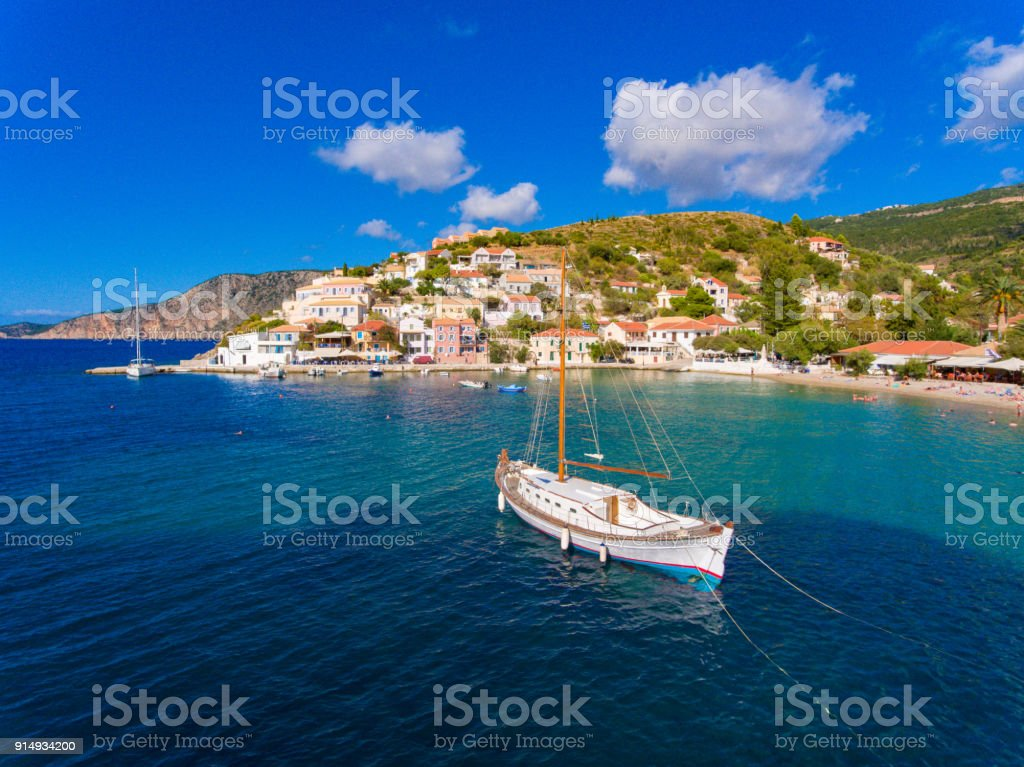 Assos village and port in Kefalonia Greece stock photo
