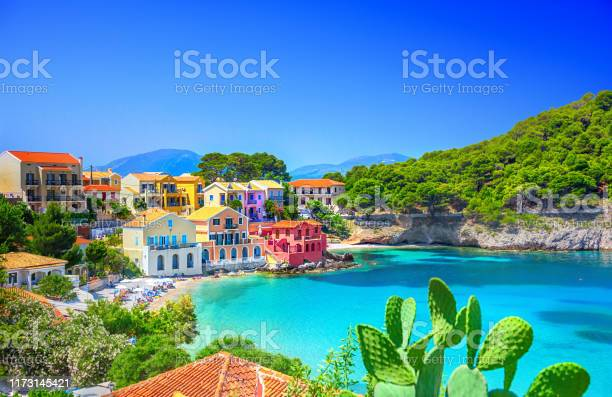 Assos Village In Kefalonia Greece Stock Photo - Download Image Now