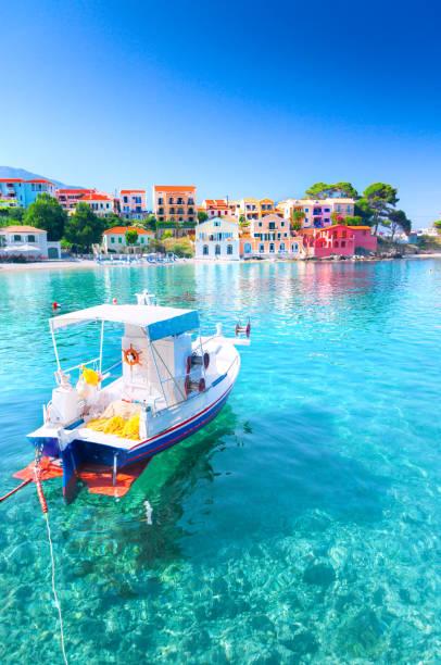 Assos village in Kefalonia, Greece stock photo