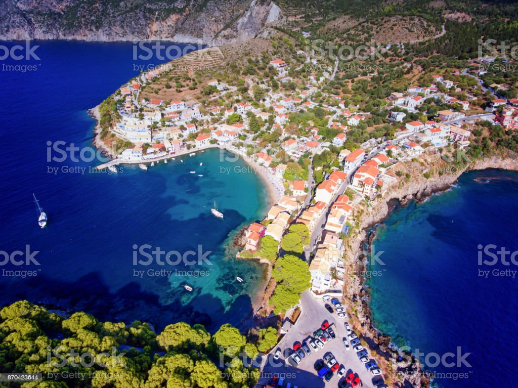 Assos Village in Kefalonia Greece stock photo